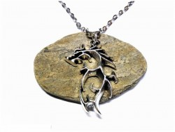 Collier argent, pendentif Dragon tribal argent
