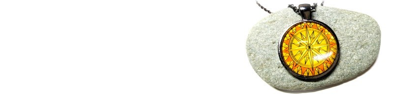 Bijoux rose des vents La Blanche Hermine - Bijou collier pendentif