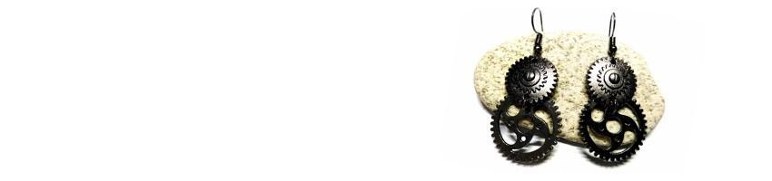 Boucles d'oreilles gunmetal La Blanche Hermine